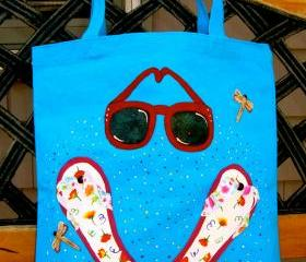 Beach Tote Bag With Flip Flops